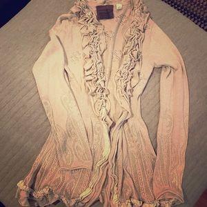 Anthropologie cream ruffle cardigan